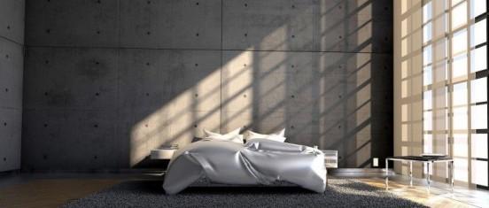 Łóżko w przestrzeni industralnej